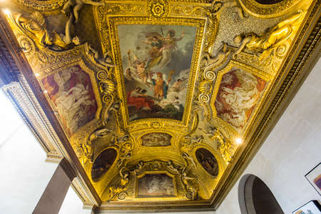PARIS, FRANCE, MARCH 13, 2017 : architectural details of Anne of Austria apartments, the Louvre palace, march 13, 2017, in Paris, France Editorial