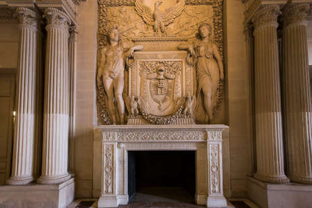 PARIS, FRANCE, MARCH 13, 2017 : architectural details of the caryatids room, the Louvre palace, march 13, 2017, in Paris, France