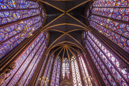 PARIS, FRANCE, MARCH 16, 2017 : Interiors and architectural details of the Sainte Chapelle church, built in 1239, march 16, 2017 in Paris, France.
