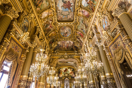 14: PARIS, FRANCE, MARCH 14, 2017 : interiors, frescoes and architectural details of the palais Garnier, Opera of Paris, march 14, 2017 in Paris, France.