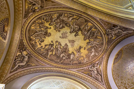 PARIS, FRANCE, MARCH 27, 2017 : ceilings of the great gallery, the Louvre museum, march 27, 2017, in Paris, France Editorial