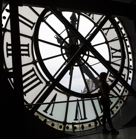 france station: PARIS, FRANCE, MARCH 31, 2017 : clockwork details of the Orsay museum, march 31, 2017, in Paris, France