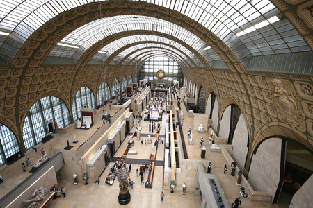 france station: PARIS, FRANCE, MARCH 07, 2017 : architectural details of The Orsay museum, march 07, 2017, in Paris, France