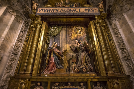 seville: SEVILLE, ANDALUSIA, SPAIN, MAY, 23, 2017 : interiors and details of Seville cathedral, may 23, 2017, in Seville, andalusia, spain Editorial