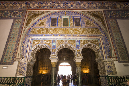 seville: SEVILLE, ANDALUSIA, SPAIN, MAY, 22, 2017 : interiors and details of Seville Alcazar, may 22, 2017, in Seville, andalusia, spain