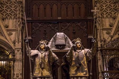 SEVILLE, ANDALUSIË, SPANJE, MEI 23, 2017: interieurs en details van de kathedraal van Sevilla, 23 mei 2017, in Sevilla, andalusië, Spanje