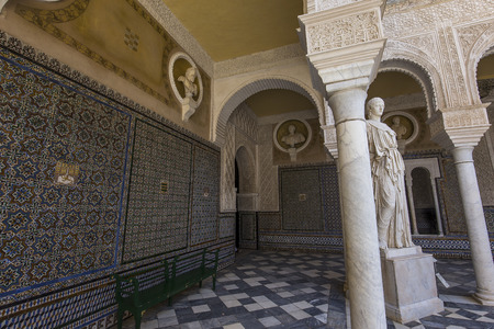 SEVILLE, ANDALUSIA, SPAIN, MAY 24, 2017 : interiors and details of Casa de Pilatos, may 24, 2017, in Seville, andalusia, spain
