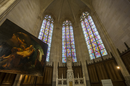 NANTES, FRANCE, OCTOBER 29, 2016 : architectural details of saint paul saint peter cathedral, october 29, 2016, in Nantes, France Editorial