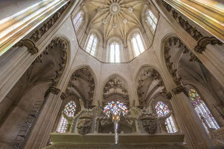 dominican: BATALHA, PORTUGAL, JUNE, 20, 2017 : architectural details of  Batalha monastery, june 20, 2017, in Batalha, Portugal