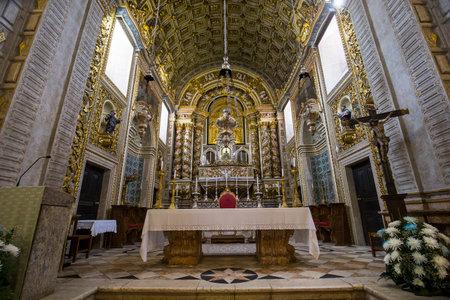 NAZARE, PORTUGAL, JUNE, 20, 2017 :  architectural details of  Church of Nossa Senhora da Nazare, june 20, 2017, in Nazare, Portugal
