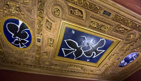 PARIS, FRANCE, MARCH 09, 2017 : ceilings of the Henri II room, the Louvre, march 09, 2017, in Paris, France Editorial