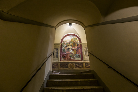 MONTE OLIVETO, ITALY, JUNE 15, 2016 : interiors and frescoes of Monte Oliveto Maggiore abbey, june 15, 2016, near Siena, Tuscany, Italy Editorial