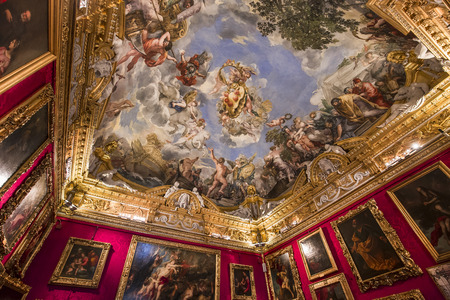 FLORENCE, ITALY, OCTOBER 28, 2015 : interiors and architectural details of Palazzo Pitti, october 28, 2015 in Florence, Italy Editorial
