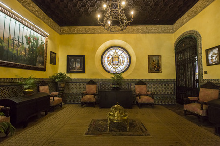 seville: SEVILLE, ANDALUSIA, SPAIN, MAY 24, 2017 : interiors and details of Palacio de las duenas, may 24, 2017, in Seville, andalusia, spain Editorial