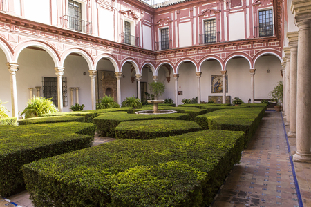 SEVILLE, ANDALUSIA, SPAIN, MAY, 25, 2017 : interiors decors  of  the museum of fine arts, may 25, 2017, in Seville, andalusia, spain