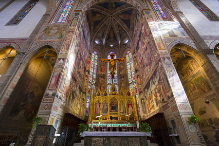 FLORENCE, ITALY, OCTOBER 26, 2015 : interiors and architectural details of Santa Croce basilica, october 26, 2015 in Florence, Italy Editorial