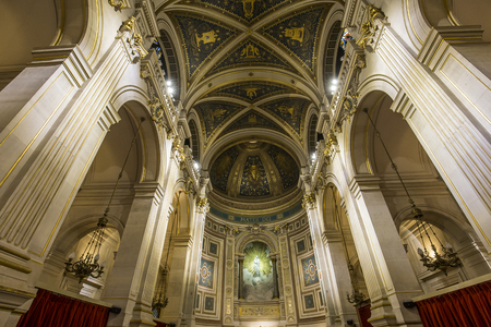 PARIS, FRANCE, OCTOBER 26, 2016 : interiors and architectural details of saint francois xavier church, october 26, 2016, in Paris, France