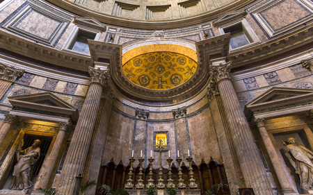 ROME, ITALY, JUNE 14, 2015 : interiors and architectural details of the pantheon, june 14, 2015, in Rome, Italy Redakční
