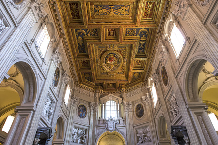 ROME, ITALY, JUNE 18, 2015 : interiors and architectural details of Archbasilica of Saint John Lateran, june 18, 2015, in Rome, Italy