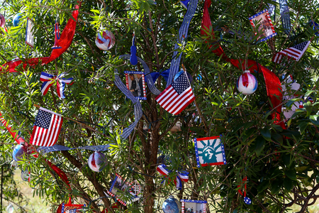 FORT MYERS, UNITED STATES, NOVEMBER 25, 2017 : patriotic decorated christmas tree , november 25, 2017, in Fort Myers, Florida, united states Editorial