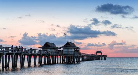 NAPLES, UNITED STATES, NOVEMBER 30, 2017 : pier jetty at sunset , november 30, 2017, in Naples, Florida, united states Stock Photo - 92079511