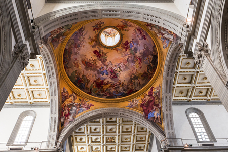 FLORENCE, ITALY, OCTOBER 23, 2015 : interiors and architectural details of basilica San Lorenzo, october 23, 2015 in Florence, Italy
