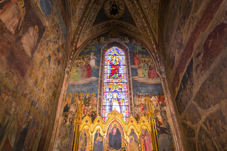 FLORENCE, ITALY, OCTOBER 26, 2015 : interiors and architectural details of Santa Maria Novella basilica, october 26, 2015 in Florence, Italy