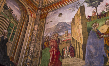 FLORENCE, ITALY, OCTOBER 26, 2015 : interiors and architectural details of Santa Maria Novella basilica, october 26, 2015 in Florence, Italy