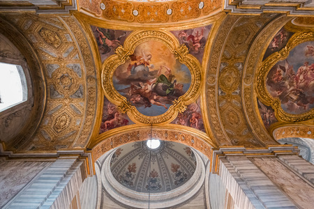 ROME, ITALY, JUNE 13, 2015 : interiors and architectural details of San Carlo al Corso church, june 13, 2015, in Rome, Italy