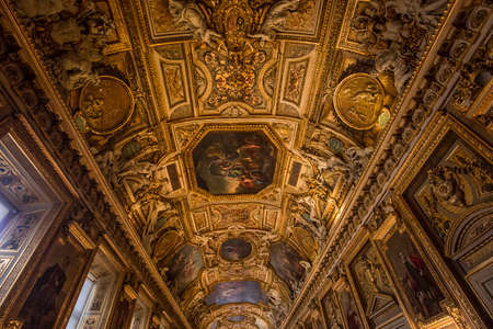 PARIS, FRANCE, MARCH 17, 2017 : architectural details and ceilings of gallery of Apollon,  march 17, 2017, in Paris, France Editorial