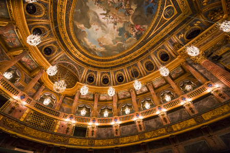 VERSAILLES FRANCE  JANUARY 06 : Interiors and details of the royal opera of Versailles, near Paris, France.  JANUARY 06, 2018 in Versailles, France