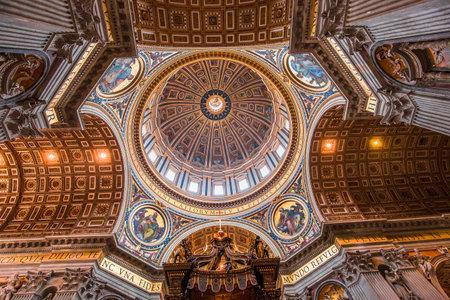 VATICAN CITY, VATICAN – JUNE 15, 2015 : interiors and architectural details of Basilica of saint Peter, june 15, 2015, in Vatican city, Vatican Editorial