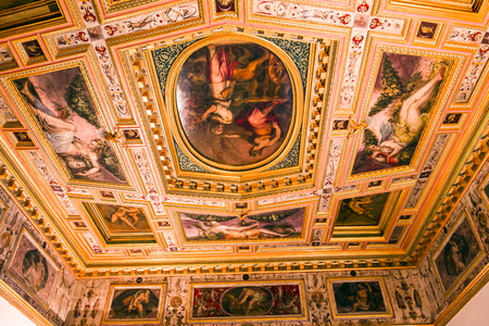 FLORENCE, ITALY, OCTOBER 25, 2015 : interiors and architectural details of Palazzo Vecchio, october 25, 2015 in Florence, Italy Editorial