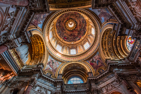 ROME, ITALY, JUNE 14, 2015 : interiors and architectural details of Sant Agnese in Agone church, june 14, 2015, in Rome, Italy