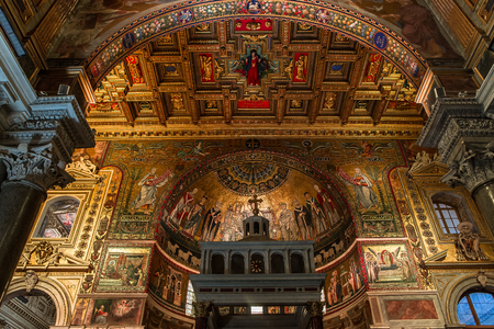 ROME, ITALY, JUNE 17, 2015 : interiors and architectural details of basilica di Santa Maria in Trastevere, june 17, 2015 in Rome, Italy