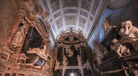 ROME, ITALY, JUNE 16, 2015 : interiors and architectural details of Santa Maria Sopra Minerva church, june 16, 2015 in Rome, Italy
