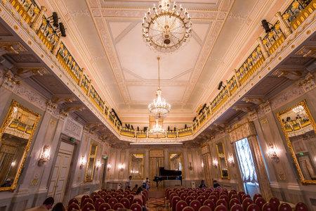 VENICE, ITALY , APRIL 24, 2018 : interiors and architectural details of Teatro la Fenice, Venice opera house, april 24, 2018,  in  Venice, Italy. Editorial