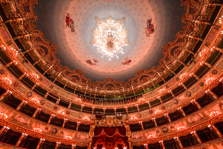 VENICE, ITALY , APRIL 24, 2018 : interiors and architectural details of Teatro la Fenice, Venice opera house, april 24, 2018,  in  Venice, Italy. Stock Photo - 116749942