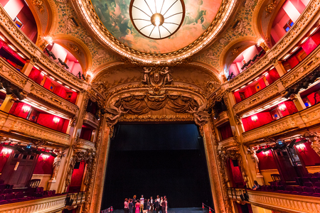 PARIS, FRANCE, SEPTEMBER 15, 2018 : interiors, frescoes and architectural details of the Opera comique, september 15, 2018 in Paris, France. Editorial