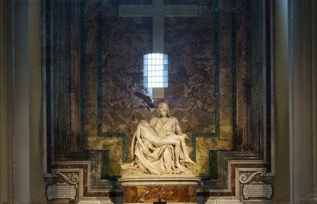 VATICAN CITY, VATICAN ? JUNE 15, 2015 : Pieta statue of Michelangelo in Basilica of saint Peter, june 15, 2015, in Vatican city, Vatican