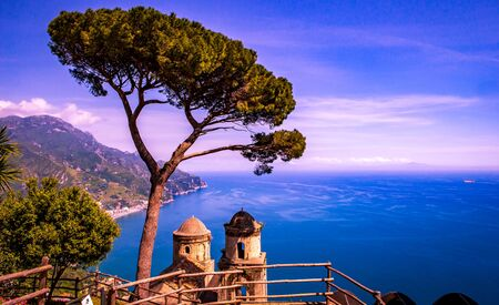 Coastline in Ravello, over the gulf of Salerno, Amalfi coast, italy