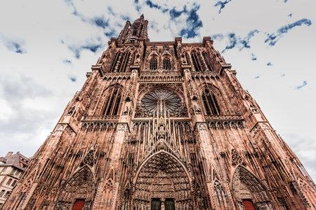 STRASBOURG, FRANCE, SEPTEMBER 03, 2018 : exteriors and details of Saint Etienne cathedral, september 03, 2018, in strasbourg, France Editorial