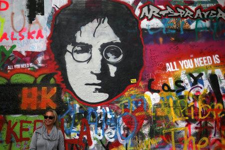 PRAGUE, CZECH REPUBLIC, SEPTEMBER 13 : details of John Lennon wall, september 13, 2019 in Prague, czech republic