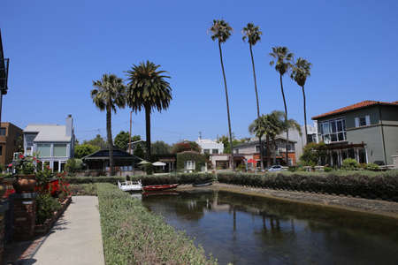 VENICE BEACH, UNITED STATES - APRIL 14, 2015 : Venice beach canal district and houses, in Los angeles, california, united states