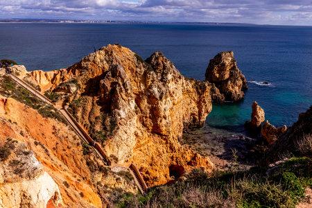 LAGOS, PORTUGAL, JANUARY 27, 2019 : Cliffs of Ponta da Piedade, january, 27, 2019, in Lagos, algarve, portugal