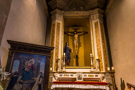 FLORENCE, ITALY, OCTOBER 26, 2015 : interiors and architectural details of Ognissanti church, october 26, 2015 in Florence, Italy