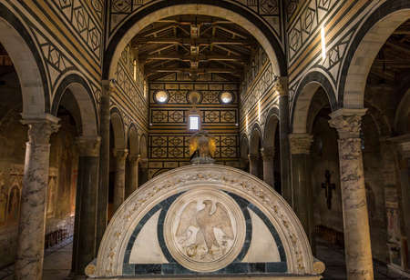 FLORENCE, ITALY, OCTOBER 24, 2015 : interiors and architectural details of basilica San Miniato al monte, october 24, 2015 in Florence, Italy