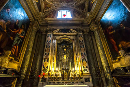 FLORENCE, ITALY, OCTOBER 25, 2015 : interiors and architectural details of Santa Trinita church, october 25, 2015 in Florence, Italy