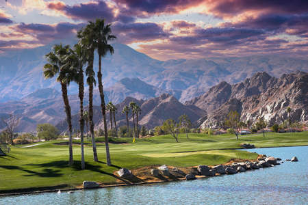 golf course at sunset in palm springs, california, usa
