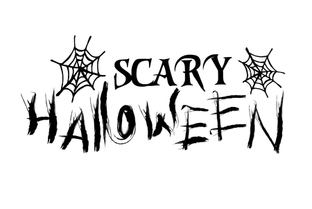 Scary Halloween isolated lettering with web Illusztráció